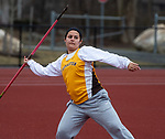 THOMASTON,  CT-040919JS08- Thomaston's Lauren Gagne took first place in the javelin event during their Berkshire League meet with Housatonic Tuesday at Nystrom's Sports Complex in Thomaston. Heavy rains shortened the meet and Gagne was not able to compete in the discus, her best event. <br /> Jim Shannon Republican American