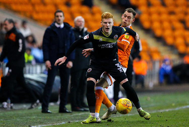 Blackpool's Harry Pritchard battles with Shrewsbury Town's Ryan Haynes<br /> <br /> Photographer Alex Dodd/CameraSport<br /> <br /> The EFL Sky Bet League One - Blackpool v Shrewsbury Town - Saturday 19 January 2019 - Bloomfield Road - Blackpool<br /> <br /> World Copyright &copy; 2019 CameraSport. All rights reserved. 43 Linden Ave. Countesthorpe. Leicester. England. LE8 5PG - Tel: +44 (0) 116 277 4147 - admin@camerasport.com - www.camerasport.com