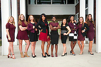 The 2016 Homecoming Court will be presented at halftime of the MSU-Samford game Saturday [Nov. 29] at Davis Wade Stadium. The Homecoming Court includes, left to right, Emily L. Tingle, freshman maid; Elise M. Moore, sophomore maid; Audrey K. Jarvis, junior maid; Natalie M. Jones, senior maid; Shawanda F. Brooks, homecoming queen; Feifei Zeng, senior maid; Alivia P. Roberts, junior maid; Kali M. Hicks, sophomore maid; Reagan M. Moak, freshman maid. <br />