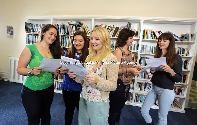 Pictured L-R: Students Holly Dickens, Kia Warlow,  Celia Crees, Katie Watkins and Freya Koutsoubelis.<br /> Re: Ffynone School A Level results, Swansea, south Wales.