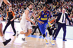 Real Madrid's Sergio Llull and Maccabi Fox's Sonny Weens during Turkish Airlines Euroleague match between Real Madrid and Maccabi at Wizink Center in Madrid, Spain. January 13, 2017. (ALTERPHOTOS/BorjaB.Hojas)