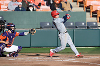 Third baseman Evan Giordano (12) of the Stony Brook Seawolves bats in a game against the Clemson Tigers on Friday, February 21, 2020, at Doug Kingsmore Stadium in Clemson, South Carolina. The Tigers catcher is Adam Hackenberg (17). Clemson won, 2-0. (Tom Priddy/Four Seam Images)