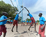 Students play volleyball at the Loreto Primary School in Rumbek, South Sudan. While focused on educating girls from throughout the war-torn country, the school, run by the Institute for the Blessed Virgin Mary--the Loreto Sisters--of Ireland, also educates children from nearby communities.