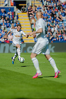 LEICESTER, ENGLAND - APRIL 18:Angel Rangel of Swansea City in action  during the Premier League match between Leicester City and Swansea City at The King Power Stadium on April 18, 2015 in Leicester, England.  (Photo by Athena Pictures/Getty Images)