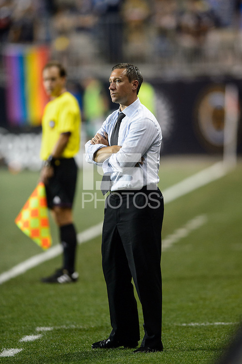 Portland Timbers head coach Caleb Porter. The Philadelphia Union and the Portland Timbers played to a 0-0 tie during a Major League Soccer (MLS) match at PPL Park in Chester, PA, on July 20, 2013.