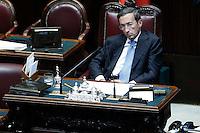 Il presidente della Camera Gianfranco Fini.Roma 05/07/2012 Camera dei Deputati - Informativa urgente del Governo sugli esiti del Consiglio europeo del 28-29 giugno.Foto Serena Cremaschi Insidefoto