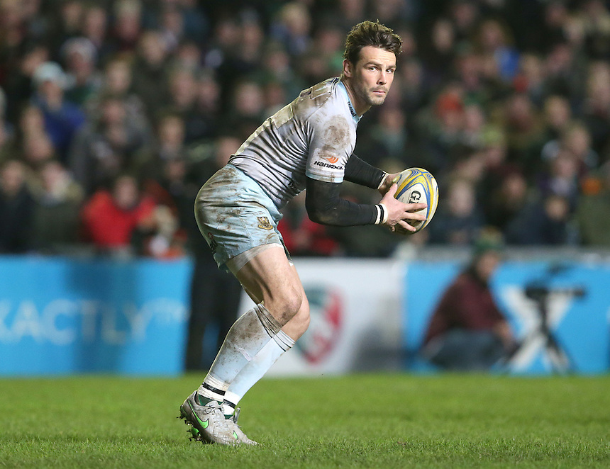 Northampton Saints' Ben Foden in action during todays match<br /> <br /> <br /> Photographer Rachel Holborn/CameraSport<br /> <br /> Rugby Union - Aviva Premiership Round 9 - Leicester Tigers v Northampton Saints - Saturday 9th January 2016 - Welford Road - Leicester<br /> <br /> &copy; CameraSport - 43 Linden Ave. Countesthorpe. Leicester. England. LE8 5PG - Tel: +44 (0) 116 277 4147 - admin@camerasport.com - www.camerasport.com