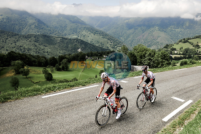 Polka Dot Jersey Tim Wellens (BEL) Lotto-Soudal and Élie Gesbert (FRA) Arkéa-Samsic attack on the Col du Soulor during Stage 14 of the 2019 Tour de France running 117.5km from Tarbes to Tourmalet Bareges, France. 20th July 2019.<br /> Picture: ASO/Pauline Ballet | Cyclefile<br /> All photos usage must carry mandatory copyright credit (© Cyclefile | ASO/Pauline Ballet)