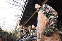 NWA Democrat-Gazette/FLIP PUTTHOFF<br />Joe Falcon (from left) watches for ducks with Eli Holden, 14, Jacob Shastid, 12, Colby Shastid, 15 and his son Dakota Falcon, 15 on youth waterfowl hunting day Feb. 3 2018. The boys hunted ducks in the morning, then squirrels and rabbits in the afternoon.