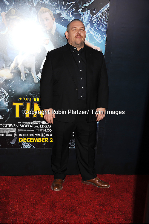 "actor Nick Frost attends The US Premiere of "" The Adventures of TinTin""..on December 11, 2011 at The Ziegfeld Theatre in New York City."