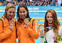 August 04, 2012..L to R: Marleen Veldhuis, Ranomi Kromowidjojo, Aliaksandra Herasimenia pose with 50m Freestyle Bronze, Gold and Silvera Medal at the Aquatics Center on day eight of 2012 Olympic Games in London, United Kingdom.