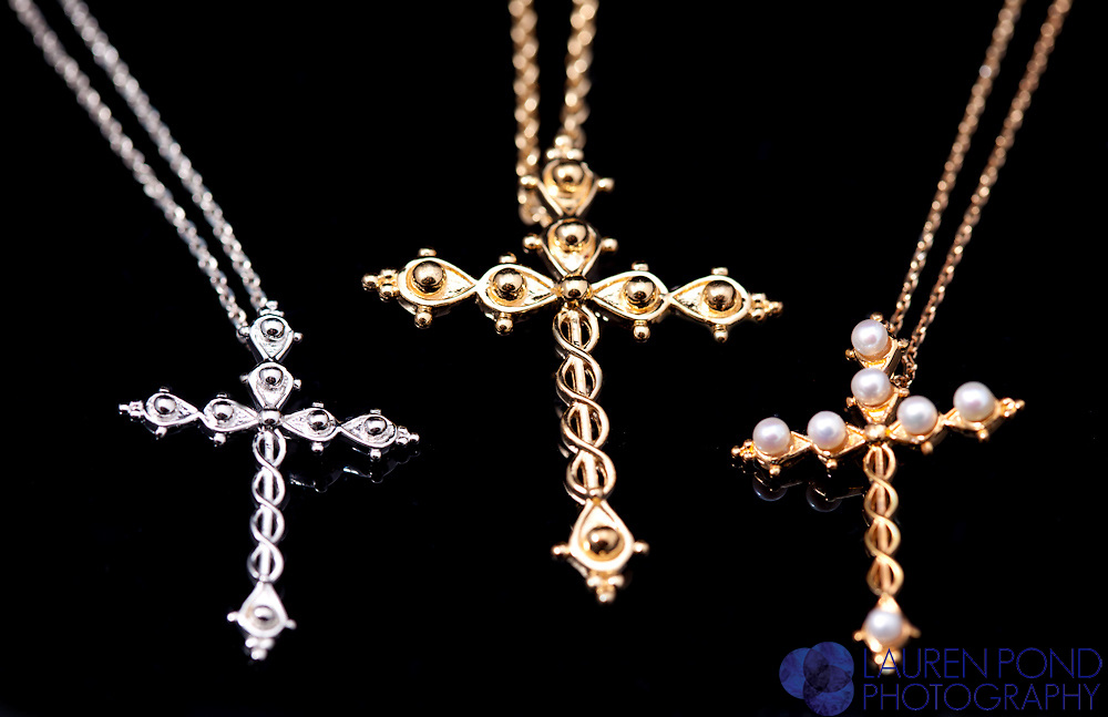 Laminin cross necklace collection