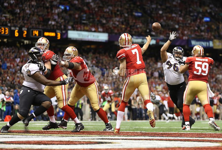 Feb 3, 2013; New Orleans, LA, USA; San Francisco 49ers quarterback Colin Kaepernick (7) throws a pass against the Baltimore Ravens in Super Bowl XLVII at the Mercedes-Benz Superdome. Mandatory Credit: Mark J. Rebilas-