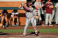 Mississippi State Bulldogs second baseman Justin Foscue (17) bats against the Tennessee Volunteers in Southeastern Conference action at Lindsey Nelson Stadium in Knoxville, Tennessee, on April 6, 2019. Tennessee won 2-1. (Danny Parker/Four Seam Images)