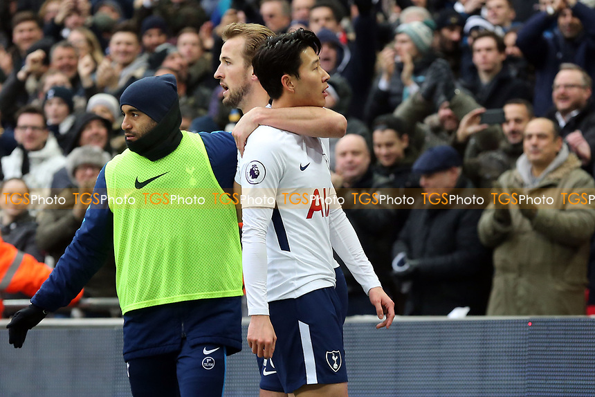 Son Heung-Min of Tottenham Hotspur celebrates scoring the opening goal during Tottenham Hotspur vs Huddersfield Town, Premier League Football at Wembley Stadium on 3rd March 2018