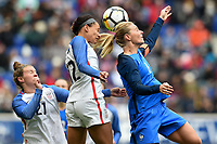 Harrison, N.J. - Sunday March 04, 2018: Savannah McCaskill, Lynn Williams, Amanine Henry during a 2018 SheBelieves Cup match between the women's national teams of the United States (USA) and France (FRA) at Red Bull Arena.