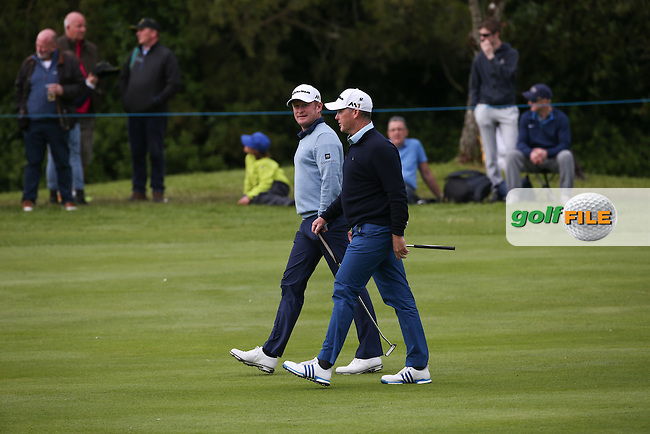 Jamie Donaldson (WAL) and Marcus Fraser (AUS) head to the 16th during Round One of the 2016 Dubai Duty Free Irish Open Hosted by The Rory Foundation which is played at the K Club Golf Resort, Straffan, Co. Kildare, Ireland. 19/05/2016. Picture Golffile | David Lloyd.<br /> <br /> All photo usage must display a mandatory copyright credit as: &copy; Golffile | David Lloyd.