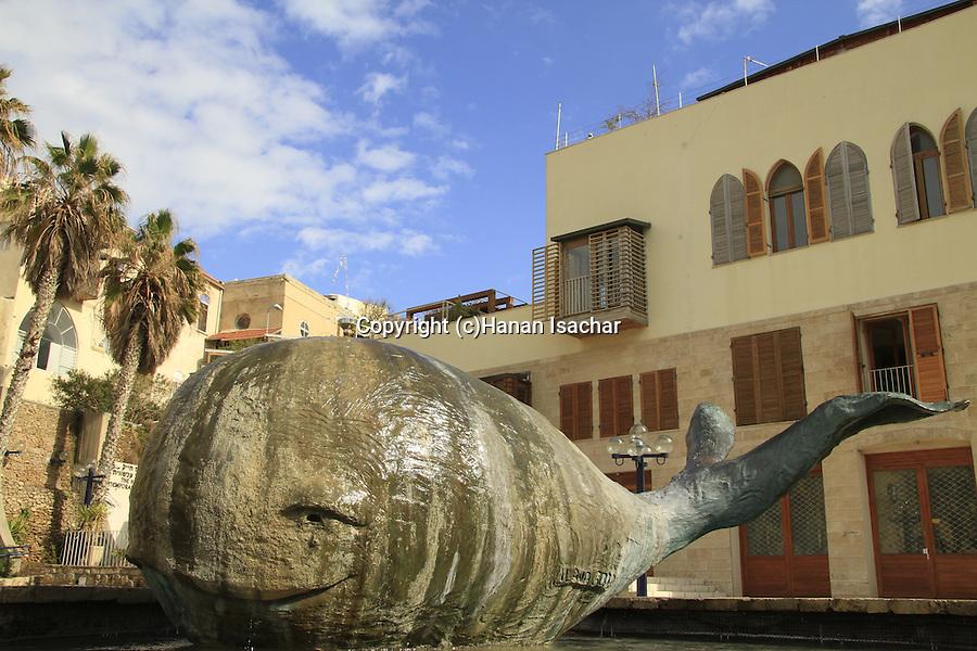 Israel, Tel Aviv-Yafo, sculpture of a whale Ilana Goor near seafront in Old Jaffa