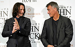"""Actor Keanu Reeves (L) and director Chad Stahelski pose of the ninja during a stage greeting for the movie """"John Wick: Chapter 3 - Parabellum"""" in Tokyo, Japan, September 10, 2019. The movie will be released in Japan on October 4. JIJI PRESS PHOTO / MORIO TAGA"""