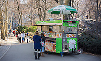 A NY Parks Dept. concessionaire's food cart selling an assortment of tasty treats in Central Park in New York on Saturday, January 17, 2015.  (© Richard B. Levine)