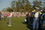 AUGUSTA, GA: APRIL 10 - Sergio Garcia of Spain hits off the rough on the first fairway during the first round of the 2014 Masters held in Augusta, GA at Augusta National Golf Club on Thursday, April 10, 2014.. (Photo by Donald Miralle)