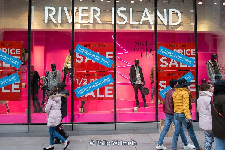 River Island, January sales, Oxford Street, London.