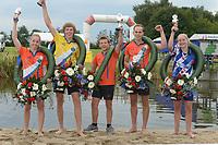 FIERLEPPEN/POLSTOKVERSPRINGEN: ZEGVELD, 31-08-2019: Nederlands Kampioenschap Fierljeppen/Polstokverspringen, v.l.n.r. Wendy Helmes, Reinier Overbeek, Roy Velis, Rian Baas, Femke Rispens, ©foto Martin de Jong
