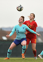 20190206 - TUBIZE , BELGIUM : Belgian Emilie Claerbout (R) and Dutch Nikita Tromp (9) pictured during the friendly female soccer match between Women under 17 teams of  Belgium and The Netherlands , in Tubize , Belgium . Wednesday 6th February 2019 . PHOTO SPORTPIX.BE DIRK VUYLSTEKE