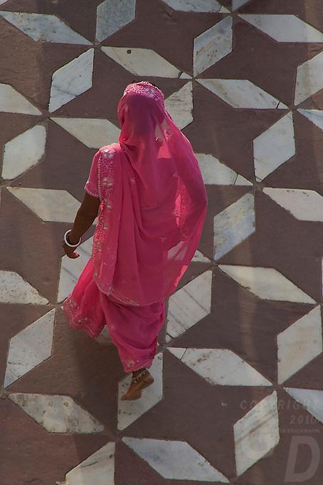 Indian Women in their colorful Sari at Taj Mahal Agra, India