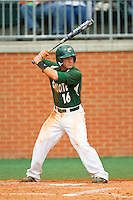 Justin Roland (16) of the Charlotte 49ers at bat against the Virginia Commonwealth Rams at Robert and Mariam Hayes Stadium on March 30, 2013 in Charlotte, North Carolina.  The 49ers defeated the Rams 9-8 in game one of a double-header.  (Brian Westerholt/Four Seam Images)