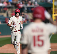 Arkansas' Matt Goodheart heads for home after hitting a home riun on the sixth inning against Grand Canyon University Wednesday March 11, 2020 at Baum-Walker Stadium in Fayetteville. The Hogs win 10-9. Visit nwaonline.com/200312Daily/ for more images. (NWA Democrat-Gazette/J.T. Wampler)