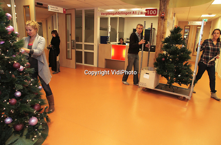 Foto: VidiPhoto..DEVENTER - Medewerkers van het bedrijf Westplant uit 's Gravenzande plaatsen maandag een kleine honderd kerstbomen in allerlei soorten en maten in de openbare ruimten en verpleegafdelingen van het Deventer Ziekenhuis. Vanwege de brandveiligheidseisen worden er kunstbomen geplaatst. Steeds meer bedrijven en organisaties besteden de kerstdecoraties uit aan derden. De omzet van Westplant neem dan ook nog ieder jaar toe. De weken voor Kerst worden er duizenden bomen geplaatst door het hele land en zijn er 150 part-time medewerkers van 's morgens vroeg tot 's avonds laat aan het werk. De kerstdecoraties worden in januari weer door het bedrijf verwijderd en centraal opgeslagen..