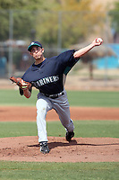 Jordan Shipers #43 of the Seattle Mariners pitches in a minor league spring training game against the San Diego Padres at the Padres minor league complex on March 19, 2011  in Peoria, Arizona. .Photo by:  Bill Mitchell/Four Seam Images.