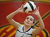 Megan Pfundstein #4 of Kellenberg makes a set during a CHSAA varsity girls volleyball match against host Sacred Heart Academy in Hempstead on Tuesday, Oct. 4, 2016. Kellenberg won the match 3-0.