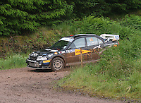 Chris Collie / Lisa Watson overshoot at Junction 12 on Special Stage 2 Windy Hill of the 2012 RSAC Scottish Rally supported by Dumfries and Galloway Council, Round 5 of the RAC MSA Scottish Rally Championship which was based in Dumfries on 30.6.12.