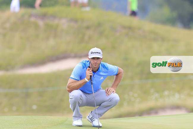 Dustin JOHNSON (USA) lines up his birdie putt on the 10th green during Friday's Round 2 of the 97th US PGA Championship 2015 held at Whistling Straits, Mosel, Kohler, Wisconsin, United States of America. 14/08/2015.<br /> Picture Eoin Clarke, www.golffile.ie