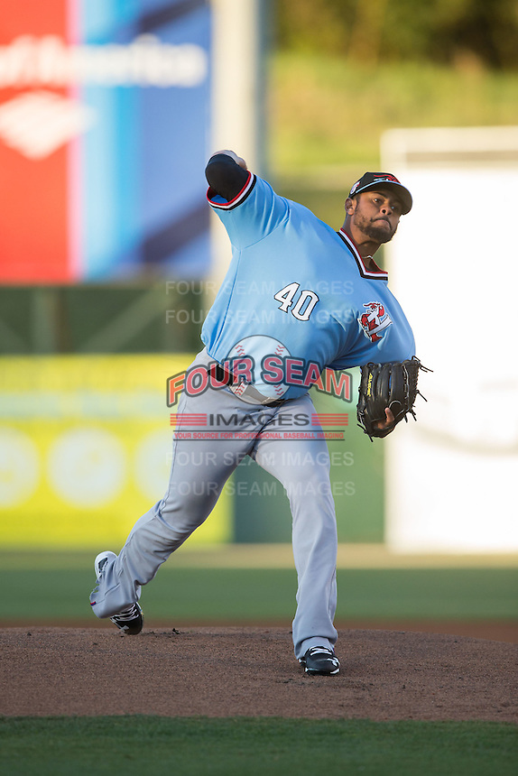 Hickory Crawdads starting pitcher Pedro Payano (40) in action against the Kannapolis Intimidators at Kannapolis Intimidators Stadium on April 9, 2016 in Kannapolis, North Carolina.  The Crawdads defeated the Intimidators 6-1 in 10 innings.  (Brian Westerholt/Four Seam Images)