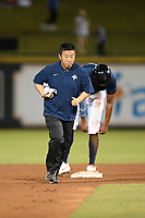 Trainer Daichi Arima of the Columbia Fireflies in a game against the Lexington Legends on Friday, May 3, 2019, at Segra Park in Columbia, South Carolina. Lexington won, 5-2. (Tom Priddy/Four Seam Images)