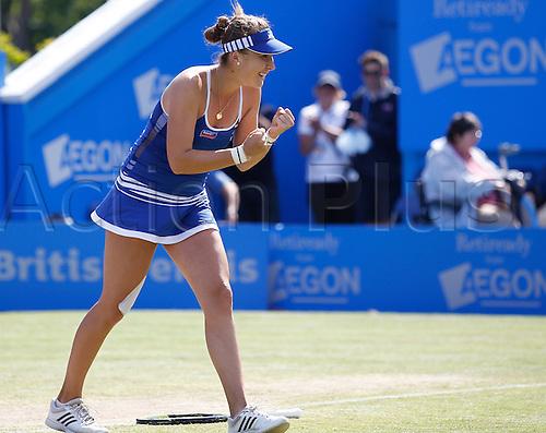 27.06.2015 Eastbourne, England. Aegon International Eastbourne Tennis Tournament Belinda Bencic (SUI) celebrates after wining her Women's singles final against Radwanska  at Devonshire park.
