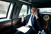 United States President Barack Obama talks on the phone en route to George Mason University in Fairfax, Virginia, to deliver remarks on health insurance reform,  Friday, March 19, 2010.  .Mandatory Credit: Pete Souza - White House via CNP