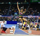 10th February 2019, Arena Birmingham, Birmingham, England; Spar British Athletics Indoor Championships; Abigail Irozuru competes in the Women's long jump during Day Two of the Spar Indoor Athletics Championships at Birmingham Arena