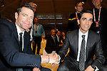 Cadel Evans (AUS) and Alberto Contador (ESP) among the guests at the Giro d'Italia 2015 presentation, Milan, Italy. 6th October 2014. <br /> Photo:Fabio Ferrari/LaPresse/www.newsfile.ie