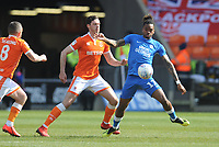 Peterborough United's Ivan Toney under pressure from Blackpool's Ben Heneghan and Jay Spearing<br /> <br /> Photographer Kevin Barnes/CameraSport<br /> <br /> The EFL Sky Bet League One - Blackpool v Peterborough United - Saturday 13th April 2019 - Bloomfield Road - Blackpool<br /> <br /> World Copyright &copy; 2019 CameraSport. All rights reserved. 43 Linden Ave. Countesthorpe. Leicester. England. LE8 5PG - Tel: +44 (0) 116 277 4147 - admin@camerasport.com - www.camerasport.com