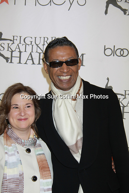 Sharon Cohen and B Michael - Fashion Designer at the 2012 Skating with the Stars - a benefit gala for Figure Skating in Harlem celebrating 15 years on April 2, 2012 at Central Park's Wollman Rink, New York City, New York.  (Photo by Sue Coflin/Max Photos)
