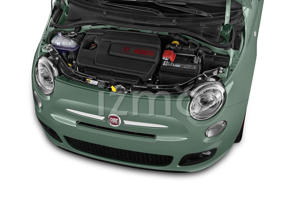 Car Stock 2015 Fiat 500 Sport Door Hatchback Engine high angle detail view