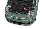 Car Stock 2015 Fiat 500 Sport Door Hatchback Engine high angle detail view