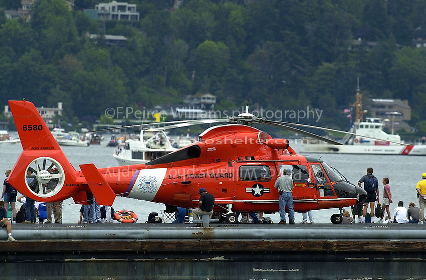 Coast Guard helicopter on standby in  the pits.