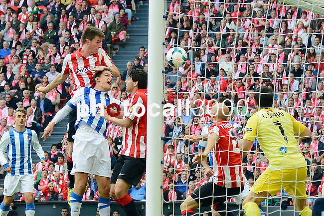 Football macht during La Liga BBVA.<br /> Athletic Club - Real Sociedad<br /> aimeric laporte