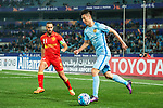 Jiangsu FC Midfielder Tao Yuan (R) fights for the ball with Adelaide United Defender Tarek Elrich (R) during the AFC Champions League 2017 Group H match between Jiangsu FC (CHN) vs Adelaide United (AUS) at the Nanjing Olympics Sports Center on 01 March 2017 in Nanjing, China. Photo by Marcio Rodrigo Machado / Power Sport Images