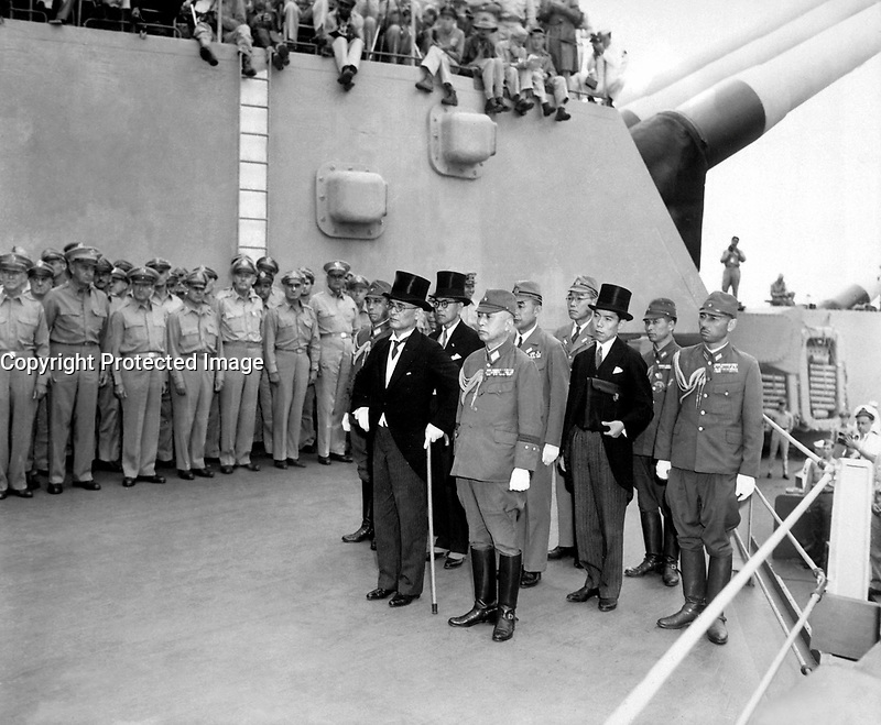 Japanese surrender signatories arrive aboard the USS MISSOURI in Tokyo Bay to participate in surrender ceremonies.  September 2, 1945. (Army)  NARA FILE #:  111-SC-210626  WAR & CONFLICT BOOK #:  1362
